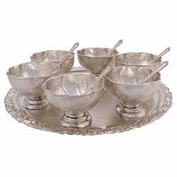 German Silver Bowl Set  sc 1 st  Bharat Handicrafts & Silver Plated Bowl Set - German Silver Bowl Set Manufacturer from Jaipur