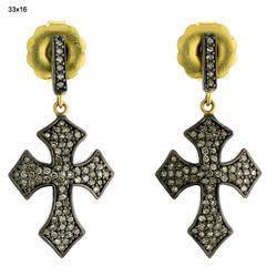 Diamond Cross Design Drop Earrings