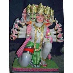 5 Headed Hanuman Marble Statue