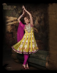 Readymade Anarkali Sut Yellow Color