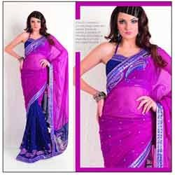 Bright Pink Blue Designer Saree