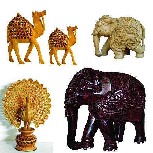 Wooden Handicrafts Wooden Animal Statue Manufacturer From Mumbai