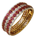 Diamond Ruby Gold Bangle Pair