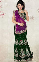 Bottle+Green+%26+Purple+Net+%26+Velvet+Lehenga+Saree+with+Blouse