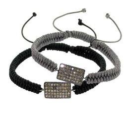 Diamond Designer Charm Macrame Bracelet