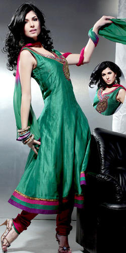 Green Chanderi Silk Readymade Churidar Kameez with Dupatta
