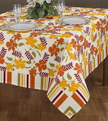 Flower Table Cloth Printed with Attached Strip Line Boder