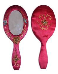 Zardosi Hand Embroidered Hand Mirror