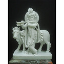 Krishna Marble Statue with Cow