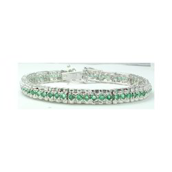 Emerald  Gemstone 925 Sterling Silver Bracelet