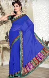 Blue+Color+Faux+Chiffon+Party+Wear+Sari+Saree