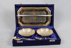 Golden Tray with 2 Bowls