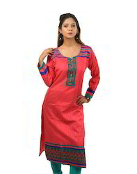 Pink+cotton+Kurta+with+Beautiful+contrast+embroidery+on+neck