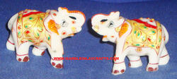 Painted Hand Carved Marble Elephants