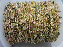 multi tourmaline gemstone beaded chain