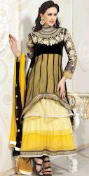 Black and Yellow Net Churidar Kameez with Dupatta