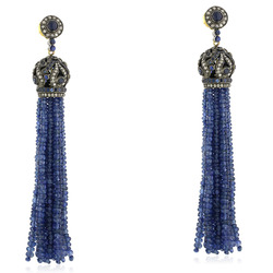 Blue Sapphire Beads Tassel Dangle Earring