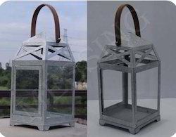 Galvanized Lantern with Leather Handle
