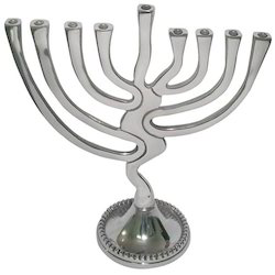 Silver Menorah Candle Holder