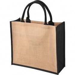 Jute Bag Black Gusset