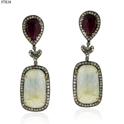 Pave Diamond Multi Sapphire Gemstone Earrings