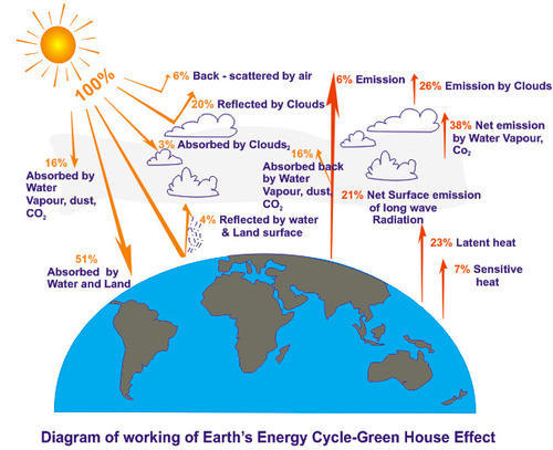 Green House Effect Diagram Of Working Of Earth Cycle Green House