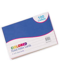 colored ruled index cards