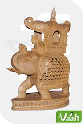 Vaah Wooden Ambawadi Elephant with Cut Work