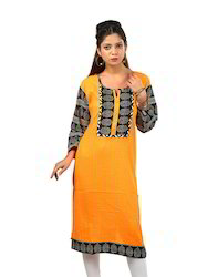 Sunshine+Yellow+Cotton+Kurta+with+a+Pintucked+Front+%2C+Contrast+Printed