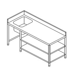 Work Table with Sink On Lhs & 2 U/s