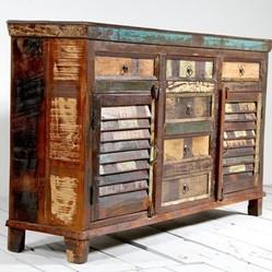 Reclaimed Wood Colorful Side Board Cabinet Furniture