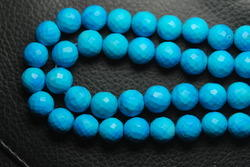 Natural Tourquoise Faceted Round Balls, Strand 9""