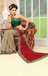 Rusty+Cream+and+Red+Color+Shimmer+and+Net+Saree+with+Blouse