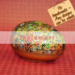 Paper Mache Easter Egg Box - Multi Color Floral Golden Garden