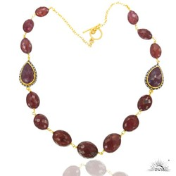 925 SIlver Pave Diamond Gemstone Ruby Beads Necklace