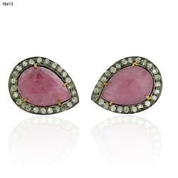 Pave Diamond Sapphire Slice Gemstone Earrings