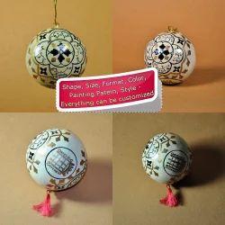 White Modern Pattern Holiday Decorative Ball - Paper Mache