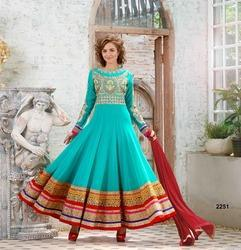 Green Georgette Embroidery Party Wear Suit