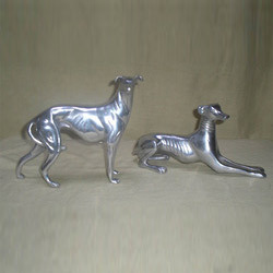 Aluminum Greyhound Dog Pair Statue