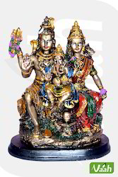 Vaah Resin Antique Painted Shiv Parivar Statue