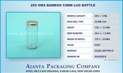 250 Gms Bamboo Glass Jar 53mm Lug Bottle