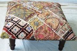 Embroidered Mirror Worked Ottoman