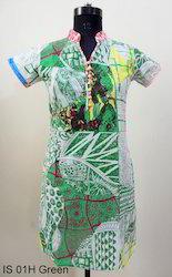 IS 01H Green Cotton Kurtis