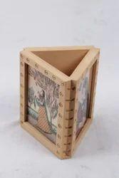 Pine Wood Gem Stone Triangular Pen Holder