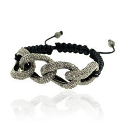 Diamond Silver Chain Macrame Bracelet