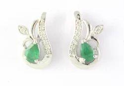 Emerald Gemstone  925 Sterling Silver Earring