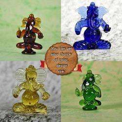Clear Glass Ganesha Statues - Handmade Ganesha