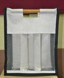 Wide White Colored Wine Bag