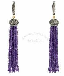 Purple+Tassel+Earrings
