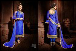 Designer Suits - Nice Blue Chiffon Embroidery Party Wear Suit ...